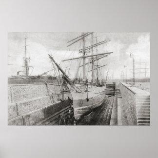 Sailing cargo ships, Calais, France Poster