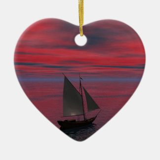 Sailing Ceramic Heart Decoration