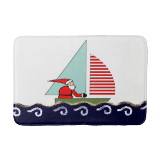 Sailing Christmas Bath Mat