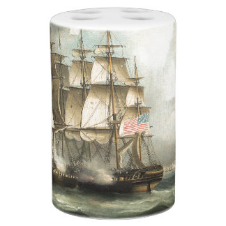 Sailing Clipper Ship Ocean Battle Bath Set