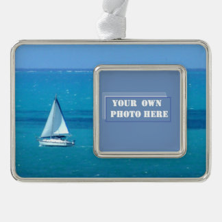 Sailing Custom Photo Silver Plated Framed Ornament