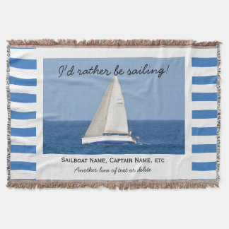 Sailing Custom Sailboat Photo Nautical Striped Throw Blanket