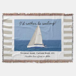 Sailing Custom Sailboat Photo Nautical Tan Striped Throw Blanket