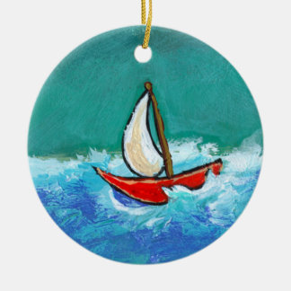 Sailing fun original boat painting colorful art round ceramic decoration