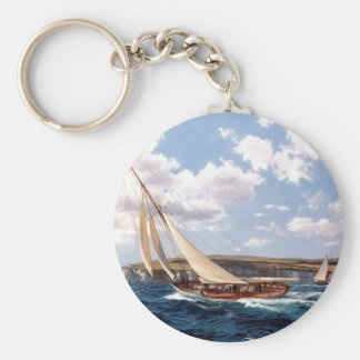 Sailing in a rough sea key ring