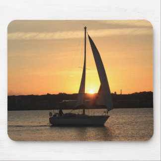 Sailing in Cardiff Bay at Sunset. Mouse Mat