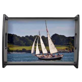 Sailing In Newport, Rhode Island, USA Serving Tray