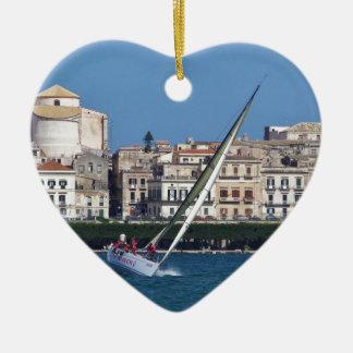 Sailing in the bay at Siracusa. Ceramic Heart Decoration