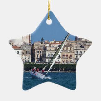 Sailing in the bay at Siracusa. Ceramic Star Decoration