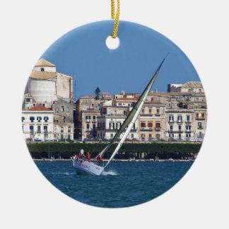 Sailing in the bay at Siracusa. Christmas Ornament
