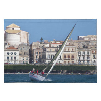 Sailing in the bay at Siracusa. Placemat