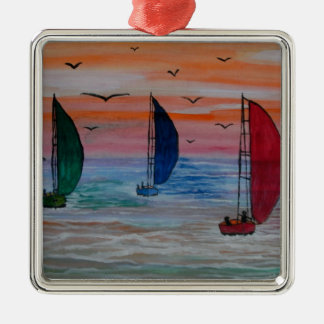 sailing in the bay Silver-Colored square decoration
