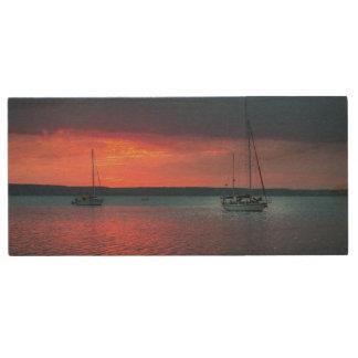 Sailing Into The Sunset | Cienfuego, Cuba Wood USB Flash Drive