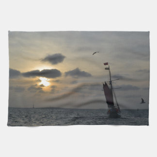 Sailing into the Sunset Tea Towel