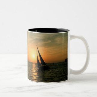 Sailing Into the Sunset Two-Tone Coffee Mug