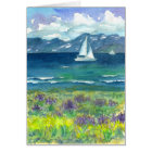 Sailing Mountain Lake Lupines Happy Birthday Card
