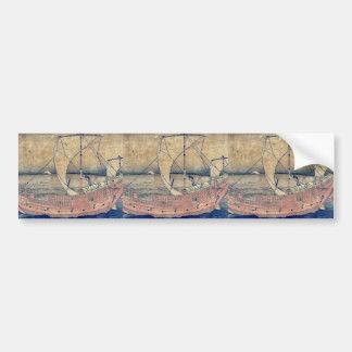 Sailing off of Kazusa by Katsushika, Hokusai Ukiyo Bumper Sticker