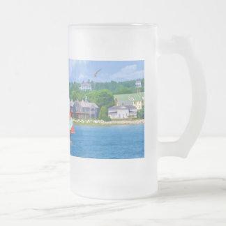 Sailing on Lake Huron Upper Michigan Frosted Beer Mug