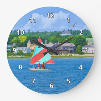 Sailing on Lake Huron Upper Michigan Wallclock
