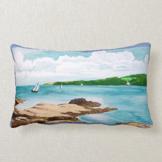 Sailing On The Helford River Painting Cushion