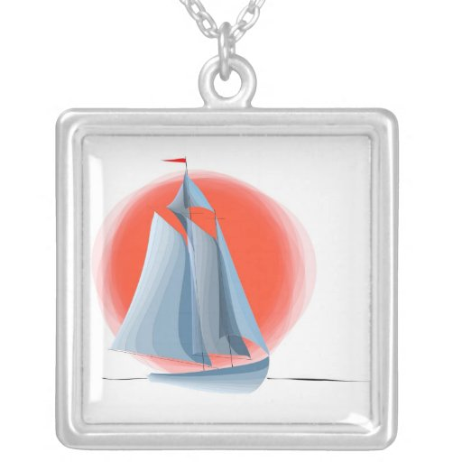 Sailing Red Sun And Blue Schooner Necklace