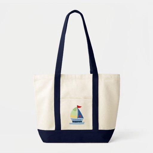 SAILING SAIL BOAT Tote Bag - add a NAME!