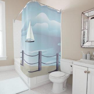 Sailing Sailboat Aqua Ocean Shower Shower Curtain