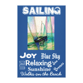Sailing Sailboat Beach Seashore Ocean Sea Art Canvas Print