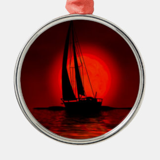 Sailing Sailboat Silver-Colored Round Decoration