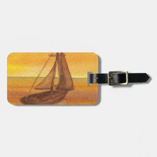 Sailing Sailboat Sunset Pretty Golden Sky Sails Bag Tag