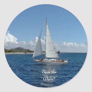 Sailing, save the date!  Wedding products Round Sticker