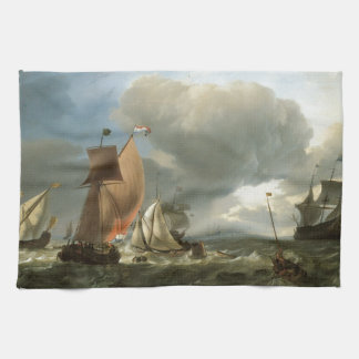 Sailing Ship and States Yacht Tacking Tea Towel