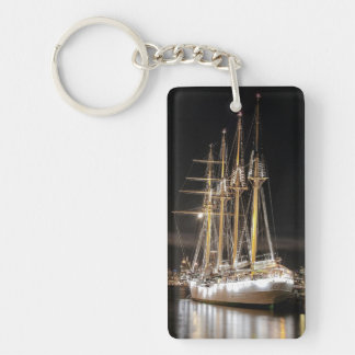 Sailing ship at  the pier key ring