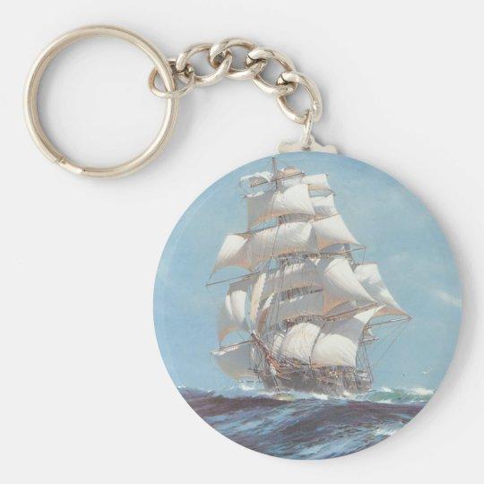 Sailing Ship Basic Round Button Key Ring