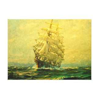 Sailing ship crosses the Atlantic Canvas Print