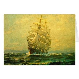 Sailing ship crosses the Atlantic Greeting Card