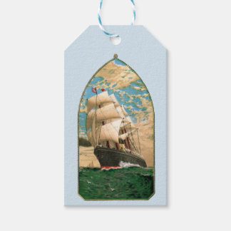 Sailing ship flying American Flag Gift Tags