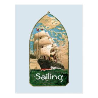 Sailing ship flying American Flag Postcard