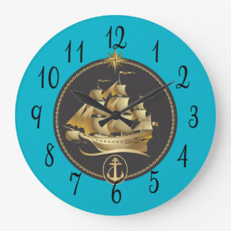 Sailing Ship in Gold and Black Large Clock