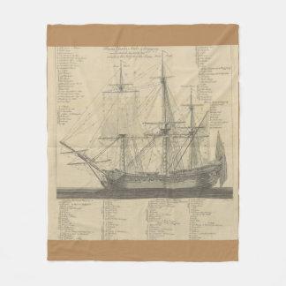 sailing ship layout fleece blanket