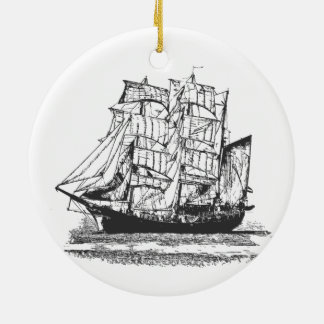 Sailing Ship Line Drawing Sailboat Windjammer Christmas Ornament