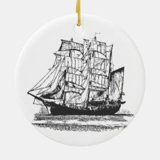 Sailing Ship Line Drawing Sailboat Windjammer Round Ceramic Decoration