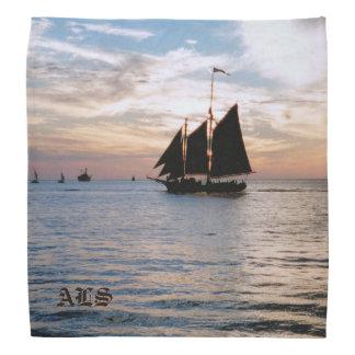 Sailing Ship on Calm Sea at Sunset Seascape Design Bandanas
