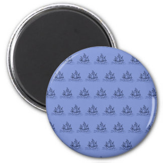 Sailing Ship Pattern. Mid Blue. Magnet