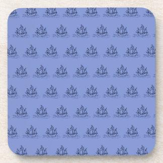 Sailing Ship Pattern. Warm Blue. Coaster