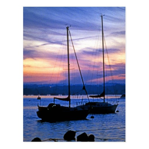 Sailing Ships at Poole Harbour at Dusk Postcard