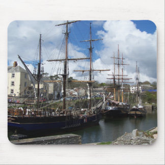 Sailing Ships Charlestown Harbour Cornwall Photo Mouse Mat