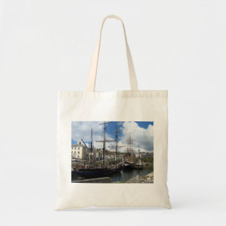 Sailing Ships Charlestown Harbour Cornwall Photo Canvas Bags
