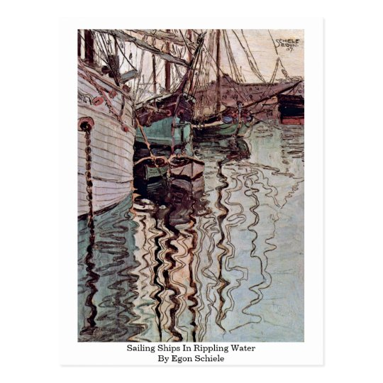 Sailing Ships In Rippling Water By Egon Schiele Postcard