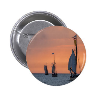 Sailing ships in sunset light on the Baltic Sea 6 Cm Round Badge
